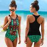 Womens Racerback Tops Tankini Swimsuit Summer Sport Bikini Beachwear Swimwear