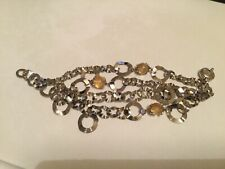 Akyra Gioielli four stranded silver bracelet with yellow crystals