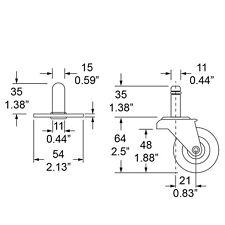 Fender / Ampeg style 4 pcs set of Amp Casters Wheels & Sockets Inserts NEW