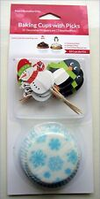 Christmas Winter Cupcake cases Cupcake Toppers Decorations Snowman Penguin Picks