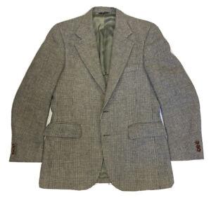 Vtg Harris Tweed Men's Harringbone Wool Tweed 2 Btn Sport Coat Blazer Size 38 R