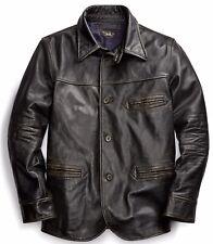 RRL Ralph Lauren Vintage Inspired Slim Fit Leather Car Coat-MEN- XXL