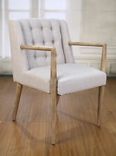 4 x Dining Chairs Carver Linen Oak Scandinavian Bedroom Furniture Hardwood New