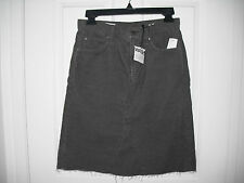 Gap women cotton blend 1969 A-line cord skirt color dark grey size 25 new