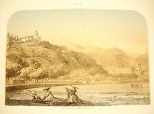 LITHOGRAPHIE par Jacques GUIAUD (1810-1876) NICE CIMIES l Abbaye Saint-Pons