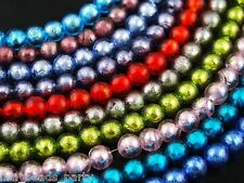 20pcs 10mm Round Silver Foil Loose Spacer Lampwork Glass Beads Mixed Colors