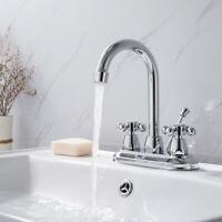 "4"" Chrome Bathroom Basin Sink Faucet 3 Hole 2 Handle Mixer Tap + Drain Stopper"