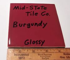 """1 pc. Vintage *Burgundy* Glossy Ceramic Tiles 4-3/8"""" by Mid-State-Tile   NOS"""