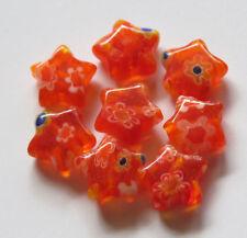 100pcs 8x3mm Millefiori Glass Star Beads - Dark Orange