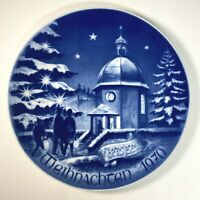 Vintage Weihnachten 1970 Bareuther Christmas Plate Bavaria Germany Chapel Blue