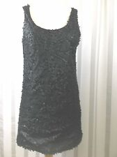 chaudry KC sequin top Large Black matte sequin patterned front sleeveless