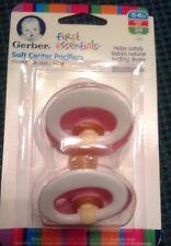 Gerber First Essentials 2 Pack Soft Center Latex Pacifier 0-6 MONTHS PINK COLOR