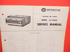 1971 HITACHI 8-TRACK STEREO TAPE PLAYER FACTORY SERVICE MANUAL MODEL CS-1050IC