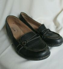Clarks Black Loafer Comfort Leather Upper Slip-on Tan Thread Accents 10M