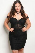 Womens Plus Size Black Lace Cold Shoulder Cocktail Dress 3XL NEW Choker Neckline
