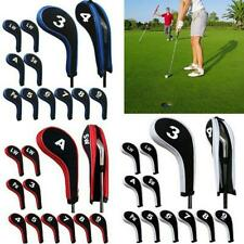12Pcs Headcovers Head Cover with Zipper Long Neck Golf Clubs Iron Set Durable