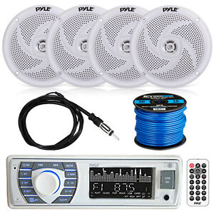 Bluetooth Marine Stereo w/Pyle Speaker System, EKMR2 Antenna & Enrock SPKR Wire