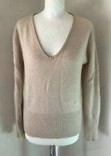 STUDIO Beige V Neck 28/2 Ply 100% Cashmere Long Sleeve Jumper Size M 12/14