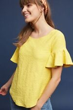 ANTHROPOLOGIE Christel Ruffle Sleeve Top XS by Postmark Yellow