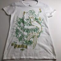 Disney Ariel Little Mermaid Women's Short Sleeve Tee T Shirt Small S White Green