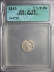 1862 Great Britain 1-1/2 penny silver - ICG-AU58 - Key date