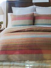 Martha Stewart $160  WESTERN HORIZON Stripe Twin 100% Cotton Coverlet QUILT New