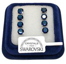 Orecchini tennis da 4 donna pl. oro bianco 18K con cristalli swarovski SW/16 blu
