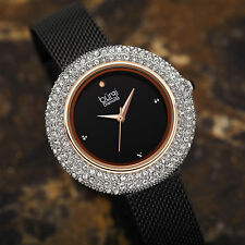 Women's Burgi BUR220 Swarovski Diamond Dial Stainless Steel Mesh Bracelet Watch
