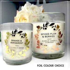 Candle stickers floral foil label wedding, business, gift Transparent rose gold