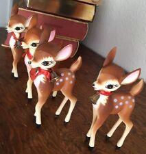 "Lot of 4 Vintage Bambi Deer Fawn 6"" Hard Plastic Hong Kong Christmas Reindeer"