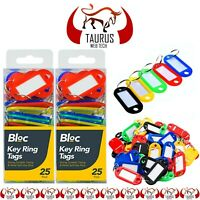 50x KEY TAGS Assorted Coloured Plastic Rings ID Tags Card FOB Label Car Flats UK