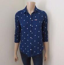 Hollister Polka Dot Button Down Shirt Size XS Blouse Navy Blue