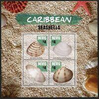 NEVIS 2016 CARIBBEAN SEASHELLS  SHEET OF FOUR MINT NH