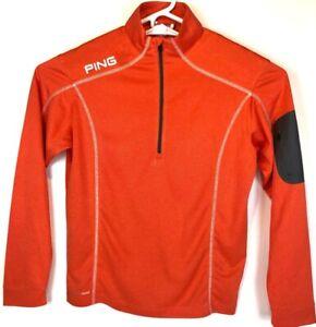 Ping Mens Golf Pullover Orange Stripe Sensor Cool Mesh Mock Neck 1/2 Zip S