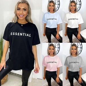 Ladies Women's Essential Print Short Sleeve Summer Cotton Tee T-Shirt Top New UK