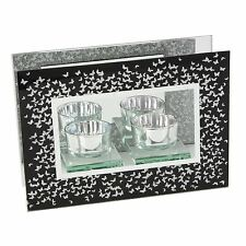 Black & Silver Butterflies Design Double Tealight Candle Holder