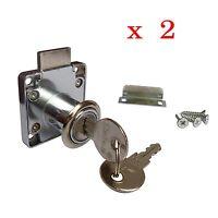 Cylinder Barrel NEW CUPBOARD / DRAWER SAFE LOCK + 2 KEYS