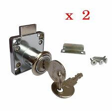 Cylinder Barrel NEW CUPBOARD / DRAWER SAFE LOCK + 2 KEYS
