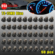 50Pcs Ultra Blue T3 Neo Wedge 1SMD Instrument Dash Climate Gauge LED Light Bulbs