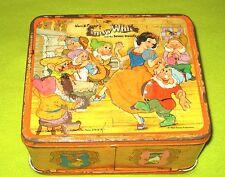 Vintage Disney Tin Lunchbox Lunch Box Snow White and 7 Seven Dwarfs Aladdin WDP