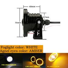 "3""LED Amber COB Projector Fog Driving Lamp Angel Eye Halo Ring DRL Daytime Light"
