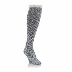 Over the Calf Gallery Fashion Top Lace Womens Socks Dark Denim