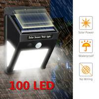 3 Sides 100LED Solar Powered Garden Lights PIR Motion Sensor Outdoor Security