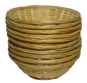 10 x Round Bamboo Baskets - Fruit Gift Hamper Trays, Shop Display - 23x7cm high