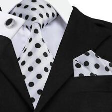 Black White Polka Dot Tie Mens Silk Necktie Jacquard Formal Wedding Sets LS-1057