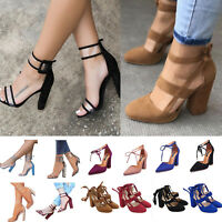 Women High Heels Ankle Strap Block Sandals Ladies Chunky Dress Open Toe Shoes US