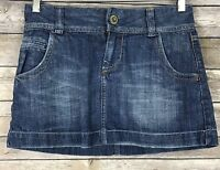 American Eagle Womens Denim Blue Jean Micro Mini Skirt Lightly Distressed Size 0