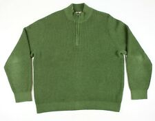 LL Bean 1/4 Zip Pullover Green Knit Cotton Cashmere Sweater Size XL EUC
