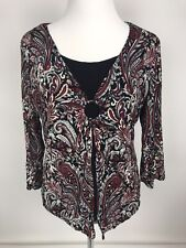 Paisley Briggs New York Top Keyhole Lined In Front  3/4 Sleeve Size Large L