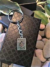Handmade Silver Ace Of Spades Playing Card. Keyring. Dad Father Gift Boxed.